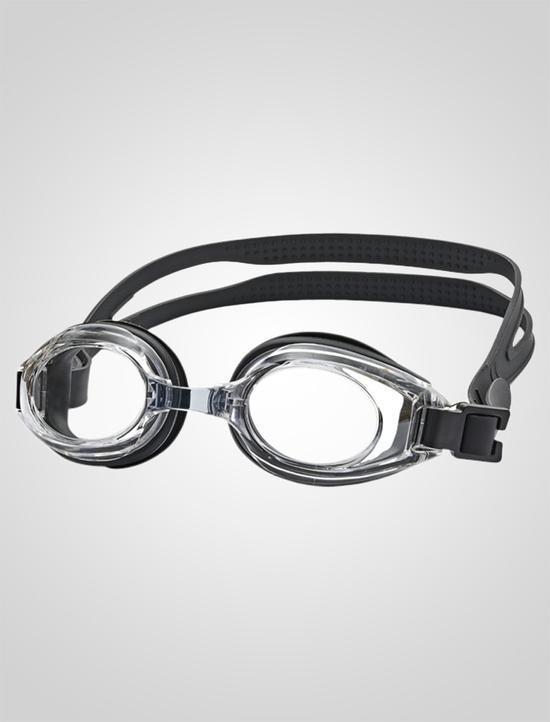 Svoemmebriller med styrke Optique_Sort_med_klare_glas_til_langsynede_voksne